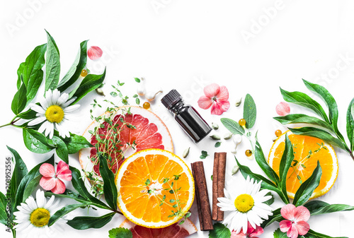 Essential oil for beauty skin. Flat lay beauty ingredients on a light background, top view. Beauty healthy lifestyle concept. Copy space - 208952556