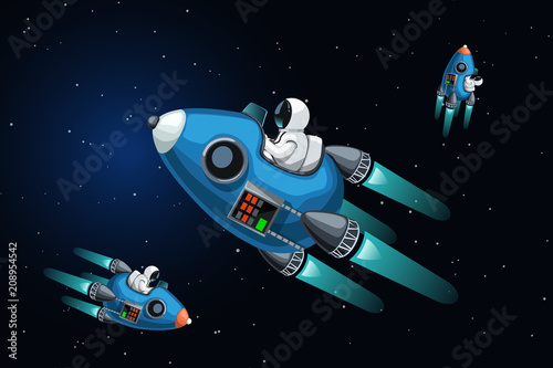 Fototapeta space ships in deep space