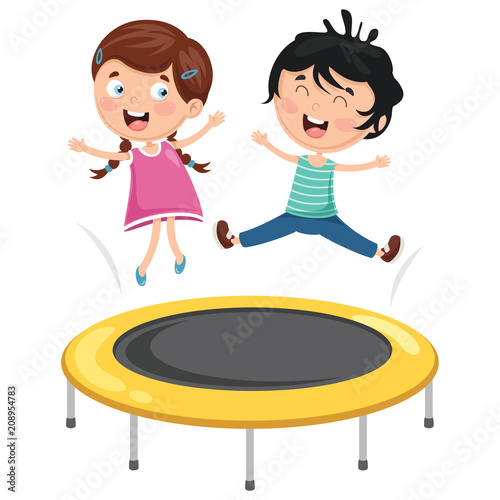 Vector Illustration Of Kids Playing Trampoline
