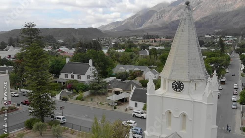 Small Town Church Clock tower Circle Shot