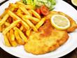 Leinwanddruck Bild - Wiener Schnitzel mit Pommes Frites und Salat