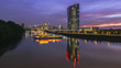 Frankfurt City Night Skyline with Boat