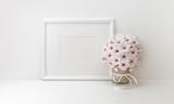 Horizontal frame mockup, styled stock photos, white flowers - 208961792