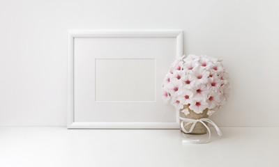 Horizontal frame mockup, styled stock photos, white flowers