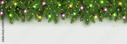 christmas and new year banner of realistic branches of christmas tree garland with glowing light