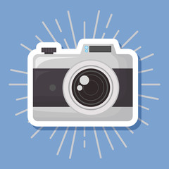 photographic camera icon over blue background, colorful design. vector illustration