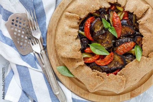 Homemade whole-grain Galette with eggplant.