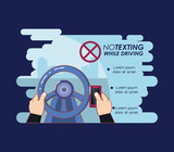 no texting while driving campaign vector illustration design - 208963767