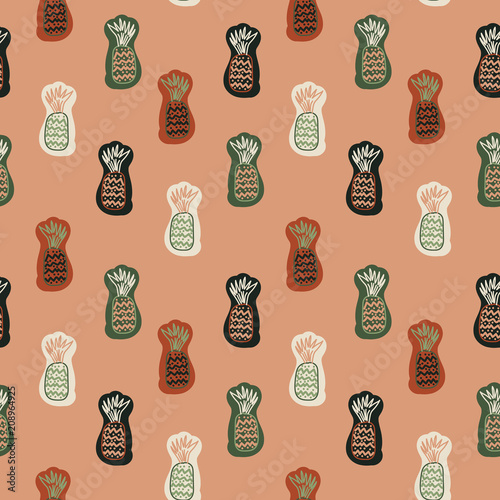 Vector seamless pattern with cute cartoon pineapple