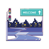 road with welcome label vector illustration design - 208965502