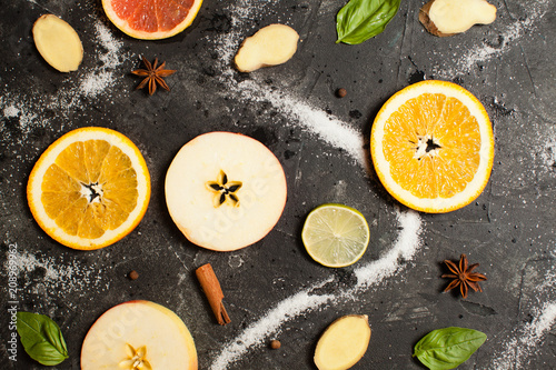 fruit pattern of fresh orange and apple slices - 208969962