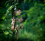 Dreamcatcher, american native amulet in forest. Shaman - 208970118