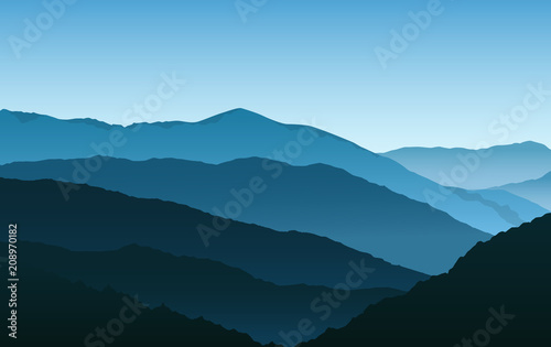 Vector simple blue silhouettes of misty mountains and hills - 208970182
