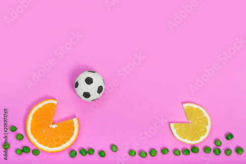 Food soccer fun game concept, top view - 208971769