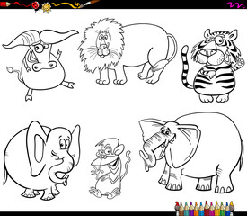set of wild animal characters coloring book