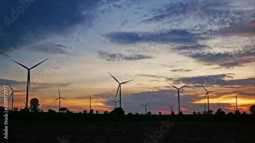 Beautiful sky and cloud over wind turbine at sunset.