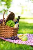 Picnic basket in summer park - 208973197