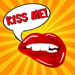 Kiss me!!! Sweet sexy pop art Pair of Glossy Vector Lips. Open Sexy wet red lips with teeth pop art set orange and yellow backgrounds, vector illustration, pattern, lettering.