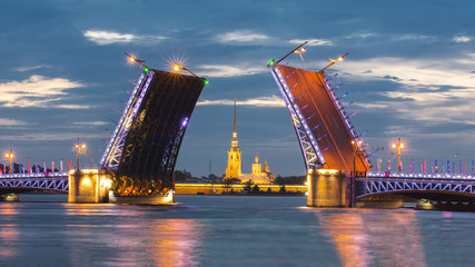 Drawn Palace Bridge and Peter and Paul Fortress at white night, St. Petersburg, Russia