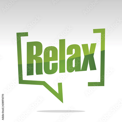 Wall mural Relax in brackets white green isolated sticker icon