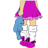 lonely girl in pink bunny slippers standing water in one hand holding a rabbit