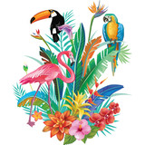 Composition of Tropical Flowers and Birds - 208982140