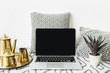 Stylish front view home office desk workspace with blank screen laptop, golden teapot on tray and succulent. Lifestyle blog hero header. Creative blog or social media background. Mock up template. - 208982713