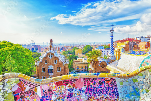 Leinwanddruck Bild Barcelona, Spain, Park Guell. Fanrastic view of famous bench in Park Guell in Barcelona, famous and extremely popular travel destination in Europe.