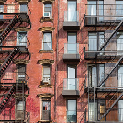 A fire escape of an apartment building in New York city.