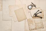 Vintage letters keys pocket watch paper background - 208987740
