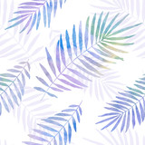 watercolor palm leaves seamless pattern