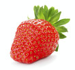 single ripe red strawberry berry isolated on white background - 208990341