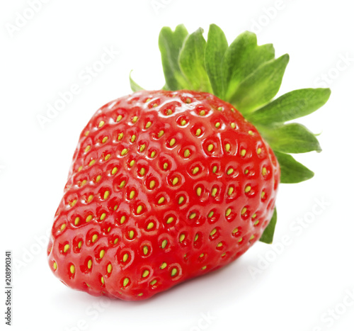 Foto Murales single ripe red strawberry berry isolated on white background