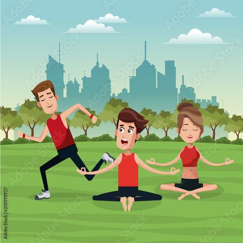 People doing exercise at park cartoons vector illustration graphic design - 208990937