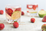 Water with strawberry and lime