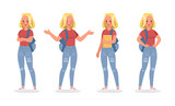 Vector set of students young woman character design. - 209007154