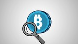 Magnifying glass looking bitcoin symbol High Definition colorful animation scenes - 209011775