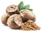 Dried seeds of fragrant nutmeg and grated nutmeg  isolated on white background. - 209014138