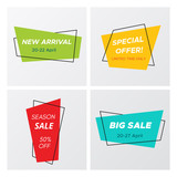 Set of flat abstract sale banner in modern style. Minimal vintage design rectangle sign template with promo offer title in bright colors. Vector illustration with sale tags for marketing print. - 209016961