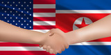 アメリカ 北朝鮮  国旗 背景 - 209018556