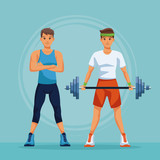 Two fitness mens with sport wear vector illustration graphic design - 209019949