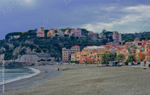 Fotobehang Liguria Celle Ligure, fishing village transformed into a renowned seaside resort.Liguria, Italy