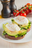 Avocado toast, cherry tomato and poached eggs on wooden background. Breakfast with vegetarian food, healthy diet concept. - 209021353