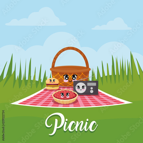 Plexiglas Pool kawaii picnic related icons over landscape background, colorful design. vector illustration