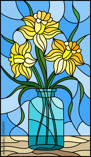illustration-in-stained-glass-style-with-still-life-bouquet-of-yellow-daffodil-in-a-glass-jar-on-a-blue-background