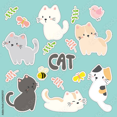 set of cute sticker with cats vector - 209028757
