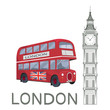 Set for design on London. Great Britain. Big Ben Tower. London bus. Vector graphics to design.