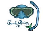 Diving. Scuba diving logo. Diver mask. Scuba-diving helmet. Vector graphics to design. - 209029347