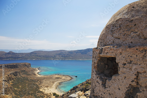 Ruins of ancient fort at Gramvousa peninsula,Crete island in Greece