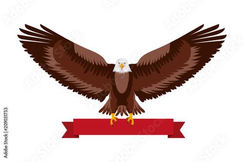 american eagle national red ribbon symbol vector illustration